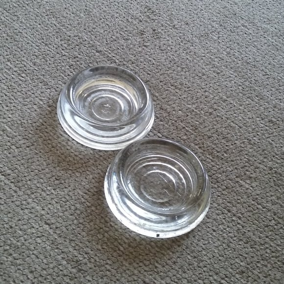 Two Vintage Ribbed Clear Glass Furniture Coasters